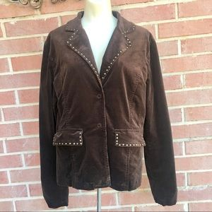 Luii Corduroy Studded Snap Front Jacket Bl…